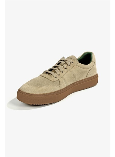 Krähe Cuervo Bej Süet Minimal Sneaker Bej